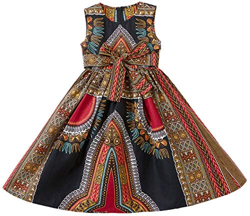 Shenbolen Girls Dashiki Print Dress African Tradition Dresses(A,Large)