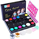 Face Paint Kit, Professional Quality Face & Body Painting for Kids Halloween Christmas Party Makeup Palette by Meco - Safe for Sensitive Skin - 14 Colors, 3 Brushes, 30 Stencils, 3 Sponges, 2 Glitters