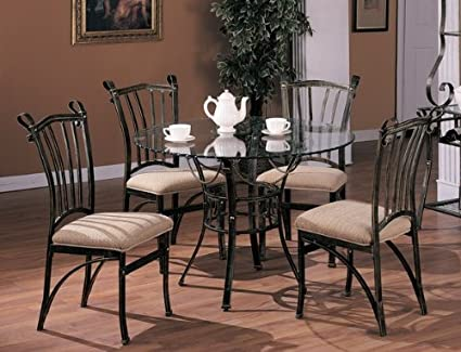 Image Unavailable Not Available For Color 5pc Nautical Style Round Metal Dining Table Cushion Chairs Set