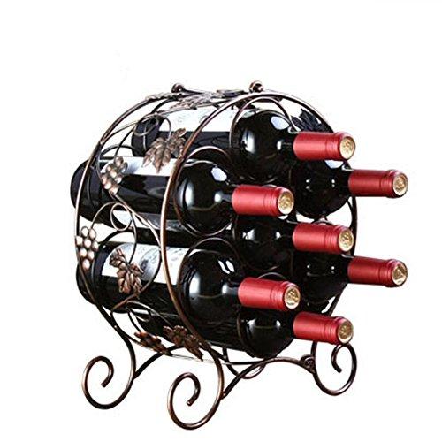 7 Bottle Wine Rack Wine Bottle Holder Free Standing Floor Standing Wine Storage (Round Wine Rack)
