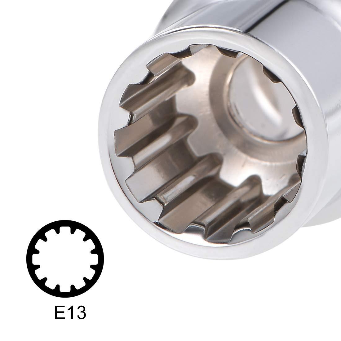 uxcell 1//2-inch Drive E20 Universal Spline Socket Shallow 12 Point Cr-V Steel