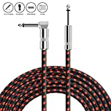 NEUMA 10Ft/3M Guitar Instruments Cable 1/4 Straight to Right Angle for electric guitar, bass guitar, electric mandolin, pro audio