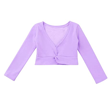 MSemis Kids Girls Cotton Knitted Ballet Cardigan Long Sleeves Crossover Wrap Tops Gymnastics Sweaters