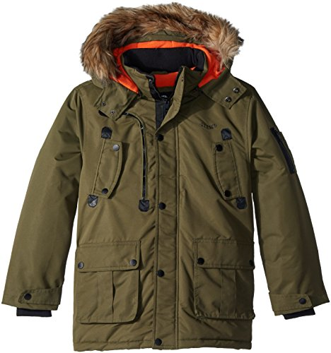 Diesel Boys' Big Outerwear Jacket (More Styles Available), Faux Fur Parka-DS68-Olive, 10/12