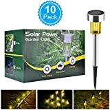 BASEIN Solar Garden Lights, Solar Lights Outdoor Pathway - Stainless Steel Landscape LED Lights for Patio, Lawn, Yard, Walkway (10 Pack)