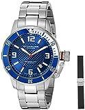 Stuhrling Original Men's 676.02.SET Aquadiver Quartz Date Bracelet and Rubber Strap Set Blue Dial Watch