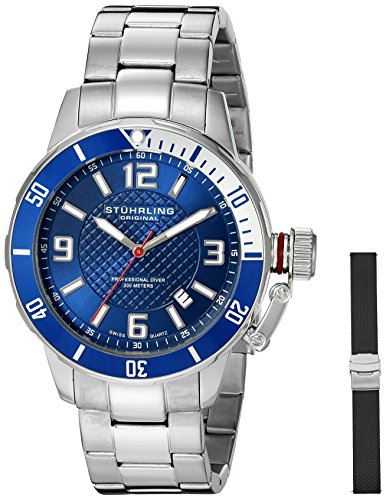 - Stuhrling Original Men's 676.02.SET Aquadiver Quartz Date Bracelet and Rubber Strap Set Blue Dial Watch