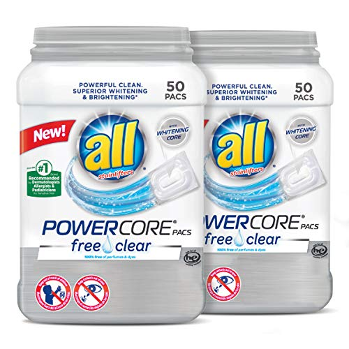 All Powercore Pacs Laundry Detergent, Free Clear for Sensitive Skin, 2 Tubs, 50 Count (All Detergent Free And Clear)