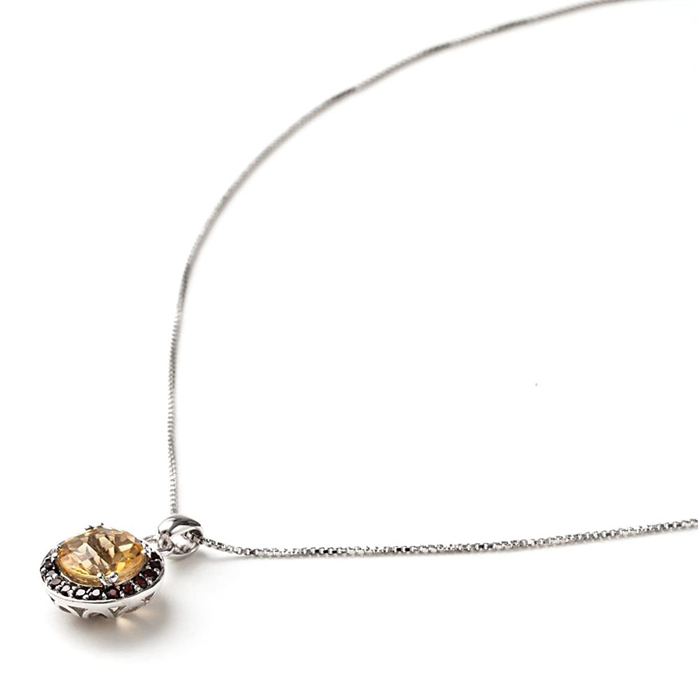 925 sterling silver golden citrine amp garnet pendant with