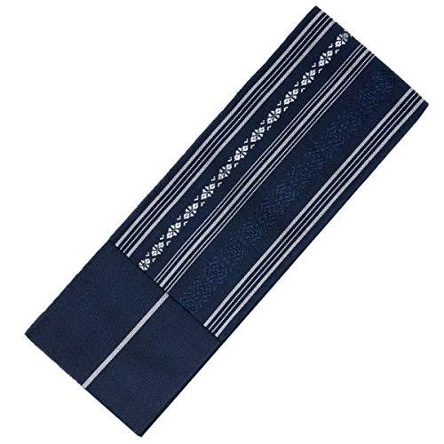 KYOETSU Men's Japanese Hakata Kaku Obi Kimono belt Silk (6,Navy)
