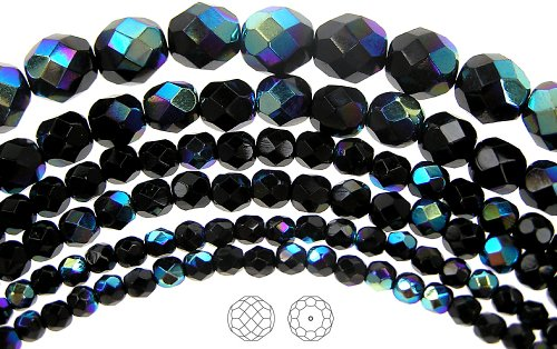 Beads Crystal Round Firepolish - 14mm (29) Jet AB, Czech Fire Polished Round Faceted Glass Beads, 16 inch strand