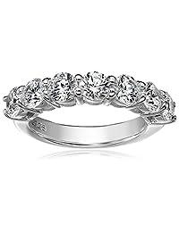 Platinum-Plated Sterling Silver Swarovski Zirconia 2 cttw Round Ring