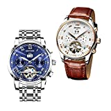 Dovewill 2 Pieces KINYUED Mens Calendar Chronograph Luminous Analog Mechanical Wristwatch