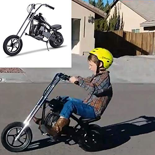 SAY YEAH Gas Scooter 49cc Children Pocket Bike 2 Stroke Mini Dirt Pit Bike for Kids, Boys and Girls Mini Motorcycle,Ride on Toys,Non California Compliant (MC-Black) (Chopper Kids Mini)