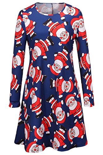 LaSuiveur Women White and Red Santa Claus Print Long Sleeve Shift Dress -