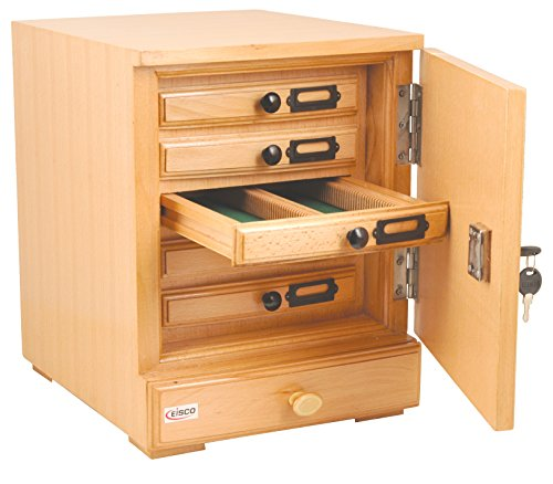 Eisco Labs Wooden Slide Cabinet, 5 Drawers, 500 Slide Capacity Total