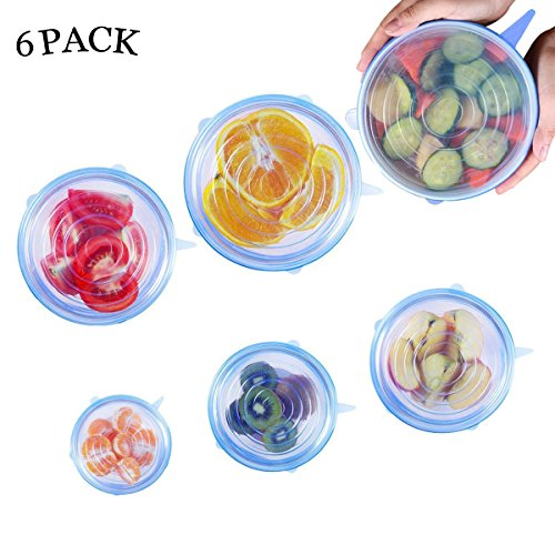 Silicone Stretch Lids 6-Pack of Various Sizes Durable Silicone Food Saver Covers for Bowel, Can, Jar, Glassware (Blue)