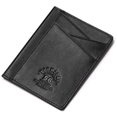 Teemzone front pocket Minimalist RFID Blocking Slim Wallet Genuine Leather Pocket Credit Card Case Holder (Black)