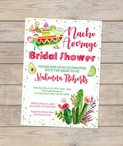 Nacho Average Bridal Shower Invitations, Fiesta Bridal Shower Invitations, Mexican Theme Bridal Shower Invitations, Mexican Hat, Margarita Bridal Shower -