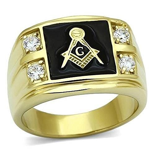 Vip Jewelry Co Mens 14k Gold Plated Stainless Steel AAA CZ Masonic Freemason Ring Band Size 8-14