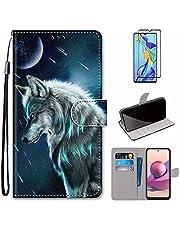MUTOUREN Hoesje voor Xiaomi Redmi Note 10 Pro/Note 10 Pro Max con Schermbeschermer, PU Lederen Case Flip Wallet Cover Magneet Beschermende Schokbestendige Telefoonhoes, Maan en Wolf