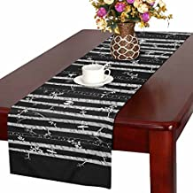 InterestPrint Aspen Trees Love Birds Polyester Table Runner Placemat 14 x 72 inch, Black and White Tablecloth for Office Kitchen Dining Wedding Party Home Decor