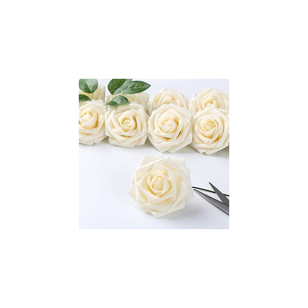 ICEYUN-Artificial-Roses-50pcs-Real-Looking-Fake-Flower-with-Leaves-stem-for-Wedding-DIY-Bouquets-Party-Baby-Shower-Home-Decorations