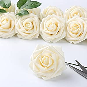 ICEYUN Artificial Roses 50pcs Real Looking Fake Flower with Leaves stem for Wedding DIY Bouquets Party Baby Shower Home Decorations 2