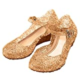 Katara ES10 - Girl's Festive Princess Heel Shoes, Mary Janes Jelly Sandals, UK girls size 10.5, Beige