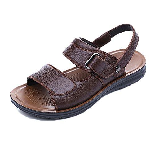 Brown1 Punta De Aire Al Playa Libre Deportes Sandalias Snfgoij Ajustables Abierta Casual Para Cómodos Cuero Zapatos Hombres Verano UwWOzfTq