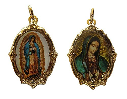 Virgen De Guadalupe Medal Bundle (Gold-tone) and Virgin Mary Catholic Handmade Medal with Virgen De Guadalupe Medal (Golden and Full Virgin) - Our Lady Of Guadalupe Medals Set