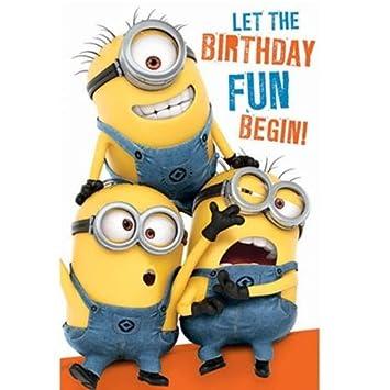 Birthday Fun Minions Birthday Card With Door Hanger Amazon Co Uk