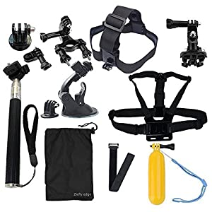 Ziefly edge Accessories kit for gopro hero 4session/4/3+/3/2/sjcam/sj4000 backpack clip+chest strap+head strap+monopod+float hand grip+bike handlebar+suction cup