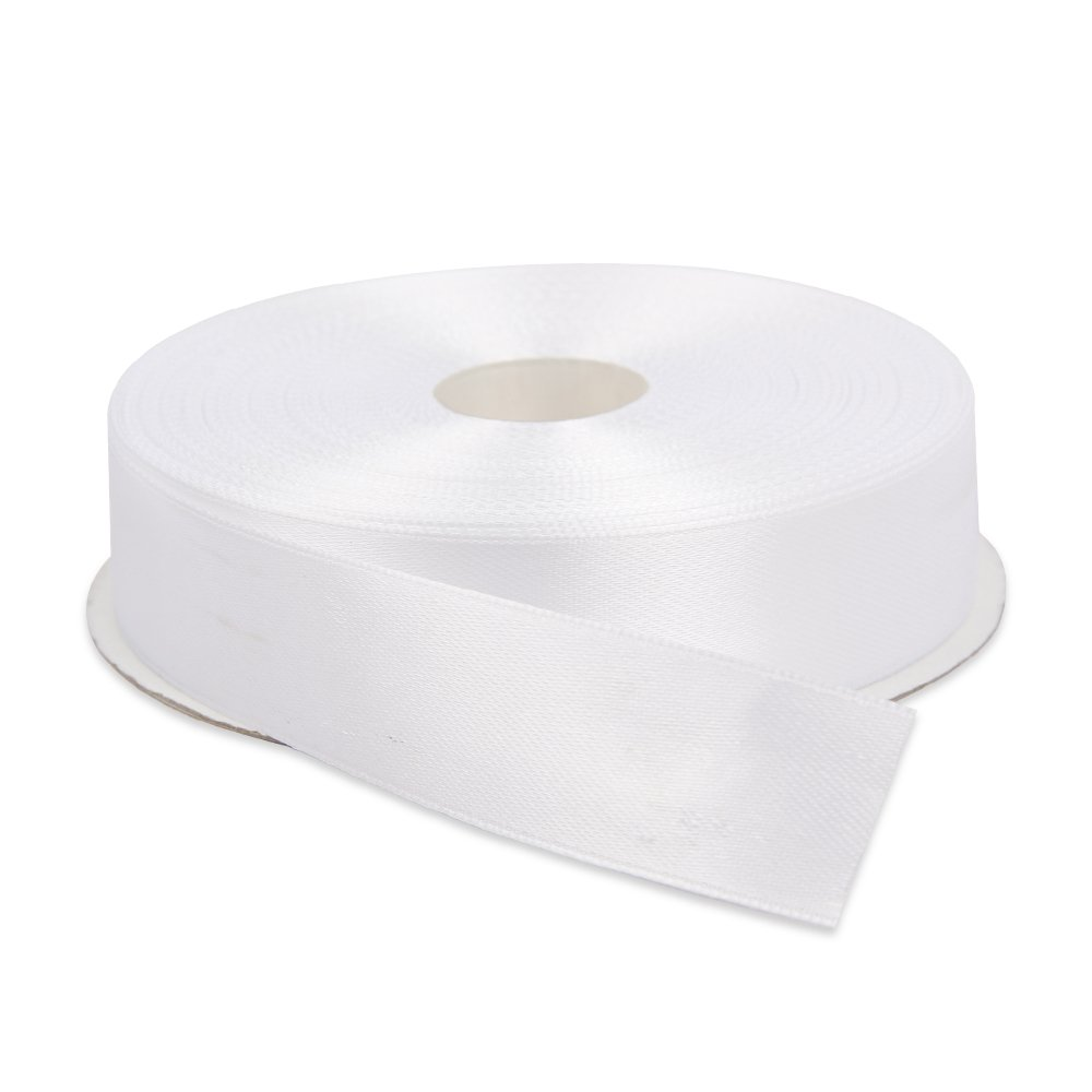 Topenca Supplies 1 Inches x 50 Yards Double Face Solid Satin Ribbon Roll, White