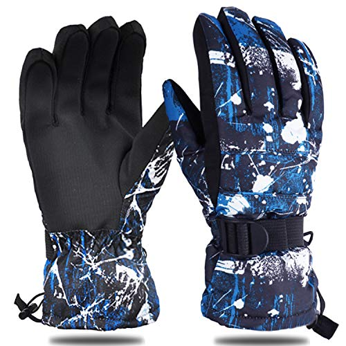 Yobenki Ski Gloves, Winter Waterproof Snow Gloves Non-Slip Breathable Cold Weather Gloves for Mens, Womens, Ladies and Kids Skiing,Snowboarding. (Black Blue, M(Fits Women or Boys 15~18 Years Old))