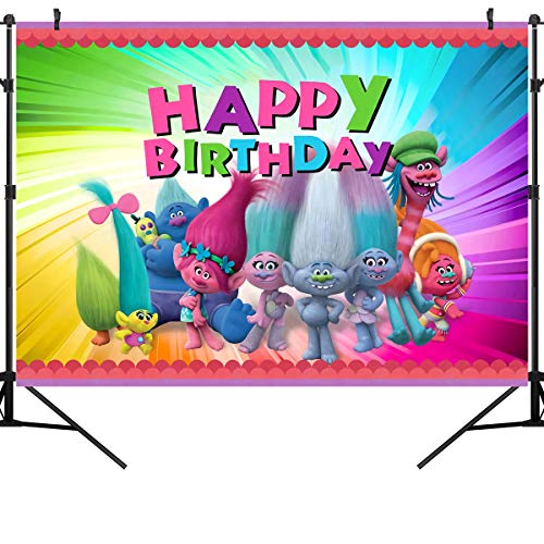 OUYIDA 7X5FT Animation Movies Background Happy Birthday Theme Party Photography Backdrops Baby Shower Colorful Decor Banner Photo Booth Trolls Poppy Vinyl Photo Studio Props PCK26A ()