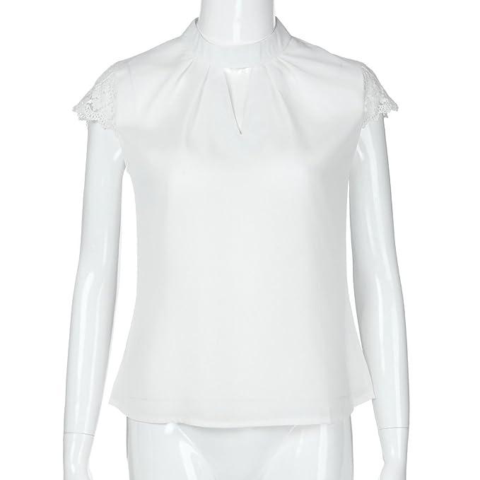 Amazon.com : Hongxin Hot Sale Women Tshirt Tops Elegant Hollow Out Chiffon Blouse Women Splice Lace Turtleneck Summer Blouse Shirt Casual Short Sleeve ...