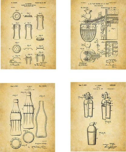 (Soda Patent Wall Art Prints - set of Four (8x10) Unframed - wall art decor for soda drinkers)
