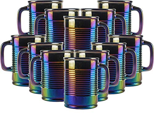 - Circleware Huge 12-Piece Set of Mason Jar Mugs in Fun Can Shaped Glasses, Home and Kitchen Farmhouse Glassware Décor Drink Tumblers for Water, Beer, Whiskey and Cold Beverages, 17.5 oz, Rainbow