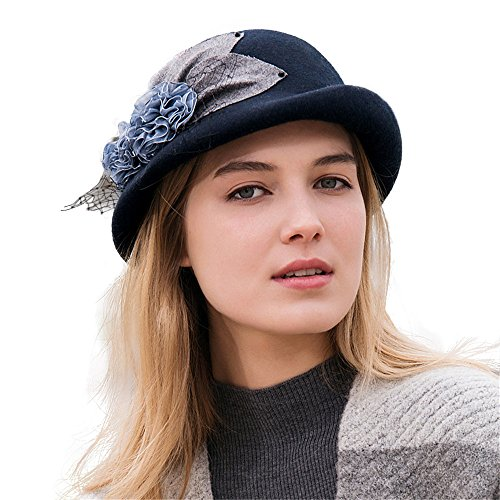 doublebulls hats Cloche Dressy Hat Girl Lady Vintage Black Gauze Autumn Winter Wool Bowler Hat (Gauze Wool)