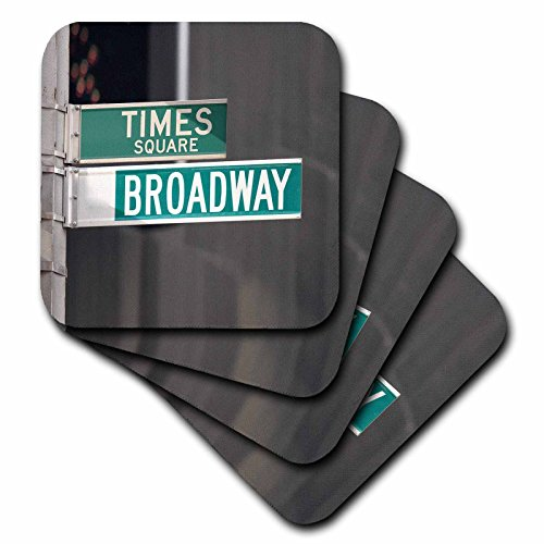 3dRose cst_4393_4 Times Square Broadway Ceramic Tile Coasters, Set of - Square Broadway And Times