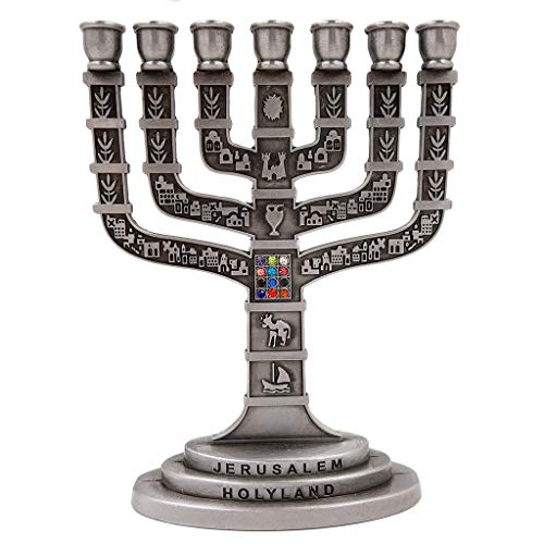 (Talisman4U 12 Tribes of Israel Jerusalem Temple Menorah 7 Branch Pewter Candle Holder Judaica Gift 4.7