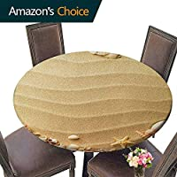 "Printsonne Heavy Duty Clear Round Tablecloth 43""-47"" Round, Beach, Nautical Composition with Sandy Beach Frame Surrounded by Various Sea Shells, Sand Brown Coral, for Dinner Parties (Elastic Edge)"