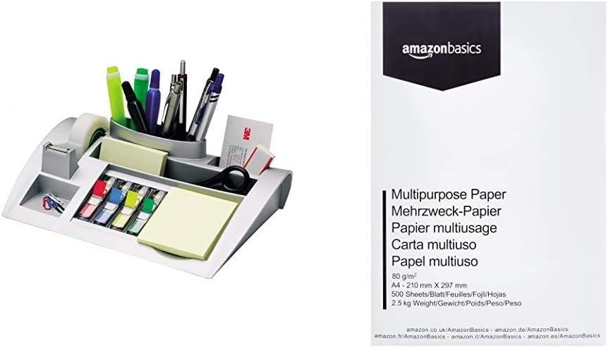3M Post-it C50 - Organizador de escritorio – 1 bloc de notas, 4 x 35 Marcadores Index y 1 cinta adhesiva Scotch Magic, plateado + Amazon Basics Papel multiusos impresora A4 80gsm, 500 hojas, blanco