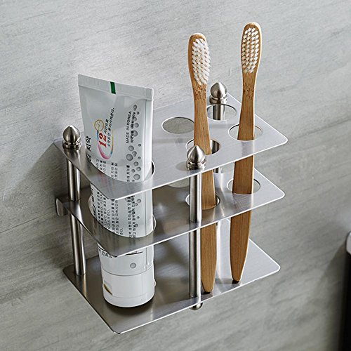 Mellewell Toothbrush Holder Toothpaste Organizer Stand Bathroom Storage, Stainless Steel Brushed Nickel, (Wall Mounted Toothbrush Holder)