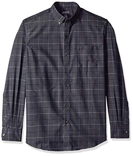 Van Heusen Men's Flex Long Sleeve Button Down Stretch Windowpane Shirt, sea Navy, Small