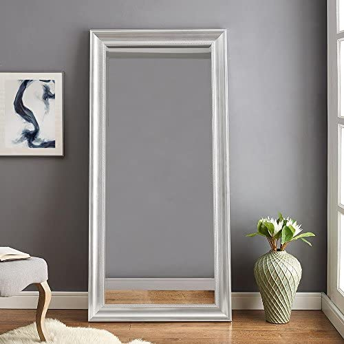 Naomi Home Beaded Framed Leaner Mirror Silver 66 x 32