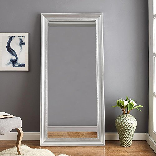 Naomi Home Beaded Framed Leaner Mirror Silver/66