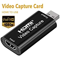 DIGITNOW Audio Video Capture Cards HDMI Video Capture HDMI to USB, Full HD 1080p USB 2.0 Record via DSLR Camcorder Action Cam for Gaming, Streaming, Teaching and Live Broadcasting