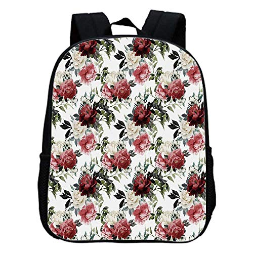 (Watercolor Fashion Kindergarten Shoulder Bag,Botanical Arrangement with Soulful Rose and Peony Corsage Romantic Valentines Decorative For Hiking,One_Size)